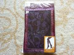 未使用:Surpiedセクシー美脚50D花柄ブライトタイツM-L紫