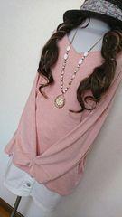 大きいサイズ★春色ピンク★大人可愛い★Vカット★チュニソー★4L