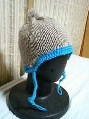 キッズグレー×水色 ハンドメイド毛糸 帽子
