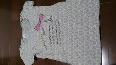 即決☆ユニクロSサイズグレーの激カワ柄半袖チュニックTシャツ