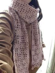 ♪手編み♪  三つ葉フリンジマフラー   ピンク