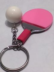 卓球ラケット キーホルダー ピンク色