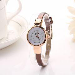 【送料無料】スリムなレディース腕時計【ブラウン】新品予備電池付