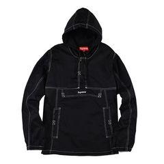 【supreme】 CONTRAST STITCH TWILL PULLOVER ブラック  L