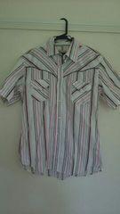 メンズ半袖ストライプシャツ