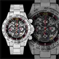 送料無料&1年保証!オラオラ系クロノグラフ腕時計/自動巻き手巻き防水/09黒