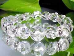 パワーストーン☆天然石!!スクリュー螺旋水晶12ミリ10ミリ§銀ロンデル数珠ブレスレット