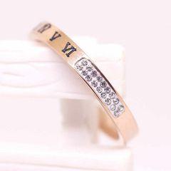 指輪 18K RGP ゴールド ダイヤ CZ ローマ数字 リング gu1390e