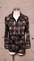 新品ROENロエン フロッキースカルコーティングチェックシャツ M