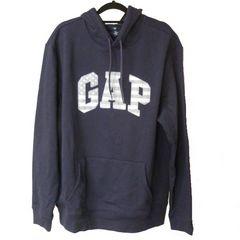 大きいサイズ新品XL★GAP紺色星条旗ロゴ裏起毛パーカー