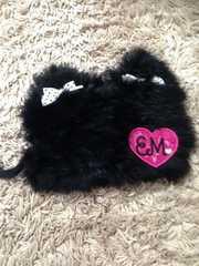 アースマジック・耳付きファーニット帽・黒M525354