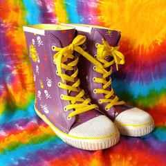 22cm□ドクロ&編み上げが個性的な長靴■レインブーツ