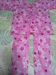 ☆新品ピンク×桜レースハートラメ入柄ダボシャツ&股引セット130