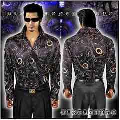 送料無料ヤクザ&ホスト系オラオラ系悪羅悪羅系ドレスシャツ/ヤカラグ服14065黒-XL