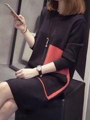 新品 ニットワンピースチュニック ◆ ブラック×オレンジ フリー