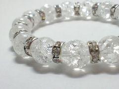 天然石☆クラック水晶x銀ロンデル§10ミリ§クリスタル