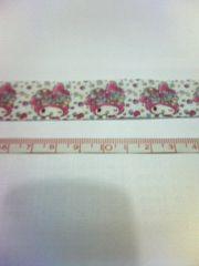 24mm巾 花いっぱいマイメロ柄リボン1M