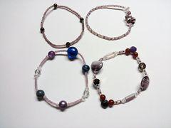 ミミカ〓天然石、ビーズブレスレット。ハンドメイド2紫系