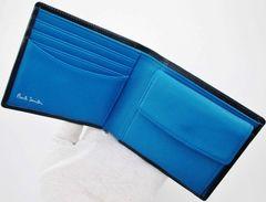 新作☆新品 ポールスミス 人気カラーデザイン 二つ折り財布 紺
