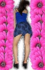 ★ミニ♪シック花柄♪AZUL♪ネイビーキュロット♪★