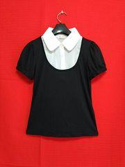 新品●白シャツブラウス黒パフスリーブTシャツエアリーシャツ結婚式GU似ユニクロ似チェスティ似