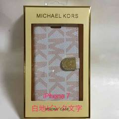 MK!手帳型iphone7 カード入れ付 TPUケース ピンク文字