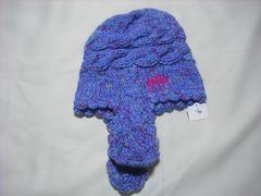 wb29 女 BILLABONG ビラボン 耳当て付き ニット帽 青紫