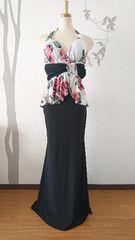 M ロングドレス Tika 薔薇柄 ローズ ペプラム ストレッチ T1643