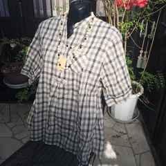 ★新品半袖夏ブロックチェックチュニックシャツ大きいサイズ4L