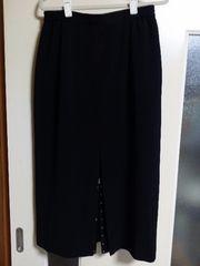 美品♪黒タイトロングスカート[前スリット美麗ビジュー飾]13号Lサイズ