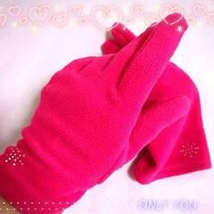 ホットピンク☆ミキラキラストーン付き手袋**中古