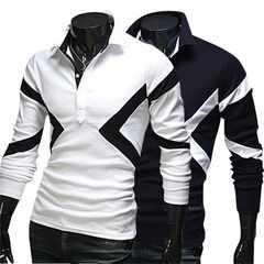 新品メンズポロシャツ長袖ビジネスシャツカジュアル 細身 M~2XL