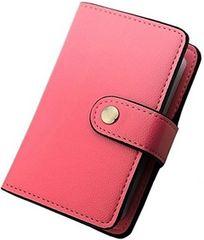 カードケース 革 レザー 磁気防止 大容量 ピンク【20枚収納】