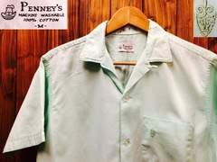 表記M!50's60'sビンテージ.PENNEY'S.刺繍入りシャツUSA古着f&eロカビリー