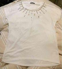 CANDY CAN◆お洒落なスタッズ飾り半袖Tシャツ◆L◆ホワイト