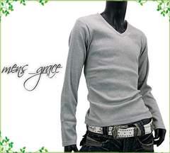 新品 長袖Tシャツ Vネック 無地 伸縮リブ素材 グレー LLサイズ