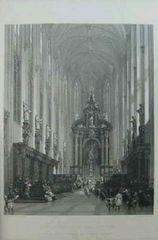 絵画 古い銅版画 D.ロバーツ筆『アントワープ,聖パウロ教会』巨匠