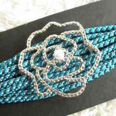 ★バラ 帯締め 帯飾り 銀糸入り 浴衣 青★