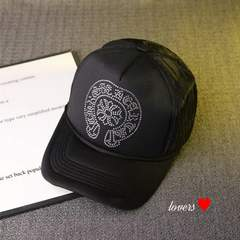 送料無料クロムラインストーンブラックロゴデザインキャップ帽子