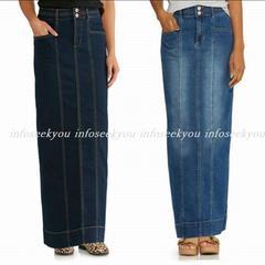 4L大きいサイズ/ロングデニムタイトスカート/ブルー