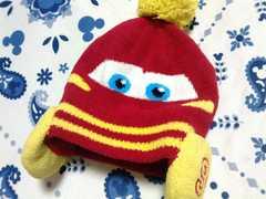 カーズニット帽子サイズ50〜52�p赤