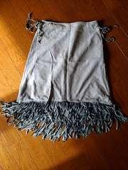 ブルーレーベル☆水色フリンジスカート