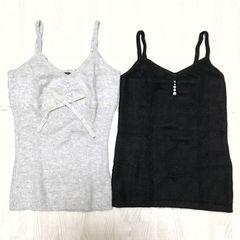 【used】アンゴラ混ニットキャミソール 2枚セット/JAYRO/黒/M
