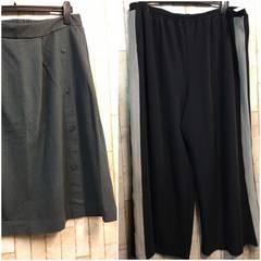 新品☆6Lサイズ ライン入りワイドパンツ&デニム風スカートn180
