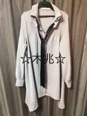 裾変形タイ付きシャツワンピ