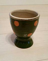◎らんちょす◎湯のみ/緑×オレンジの水玉