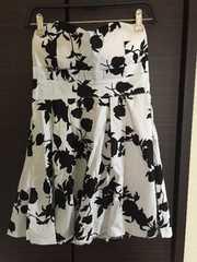 ベアワンピース  ドレス ワンピ 花柄 ホワイトブラック 白黒