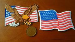 ��004 アイロンワッペン アメリカ 国旗