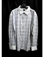 セール新品ライトパープルチェック柄ロングシャツ★ビッグシルエットシャツxl長袖