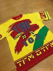 FUBU sports  フブ  総柄Tシャツ  sizeL→XL  黄色